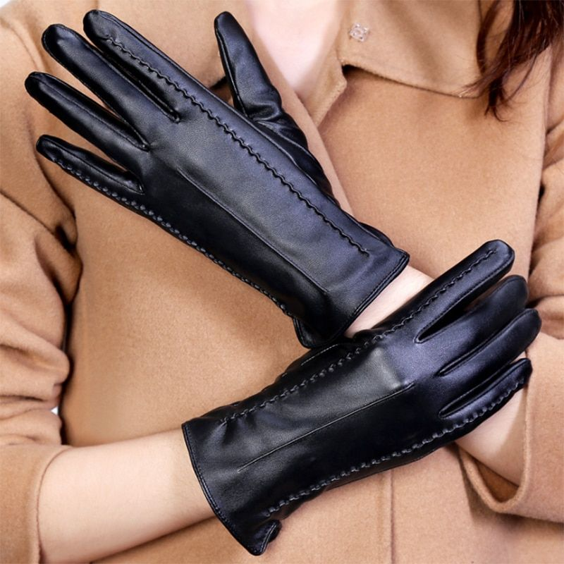 Women Touch Screen Gloves Pu Gloves Winter Gloves Soft Smartphone Wrist Gloves For Mobile Phone Tablet Pad AT389