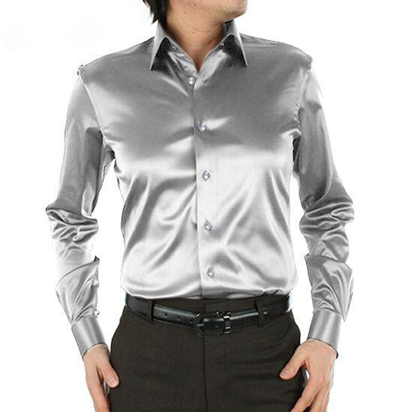 Plus größe männer hochzeit hemden Hohe qualität langarm Lose männer seidenhemd herrenbekleidung chemise homme 21 farben CY57b
