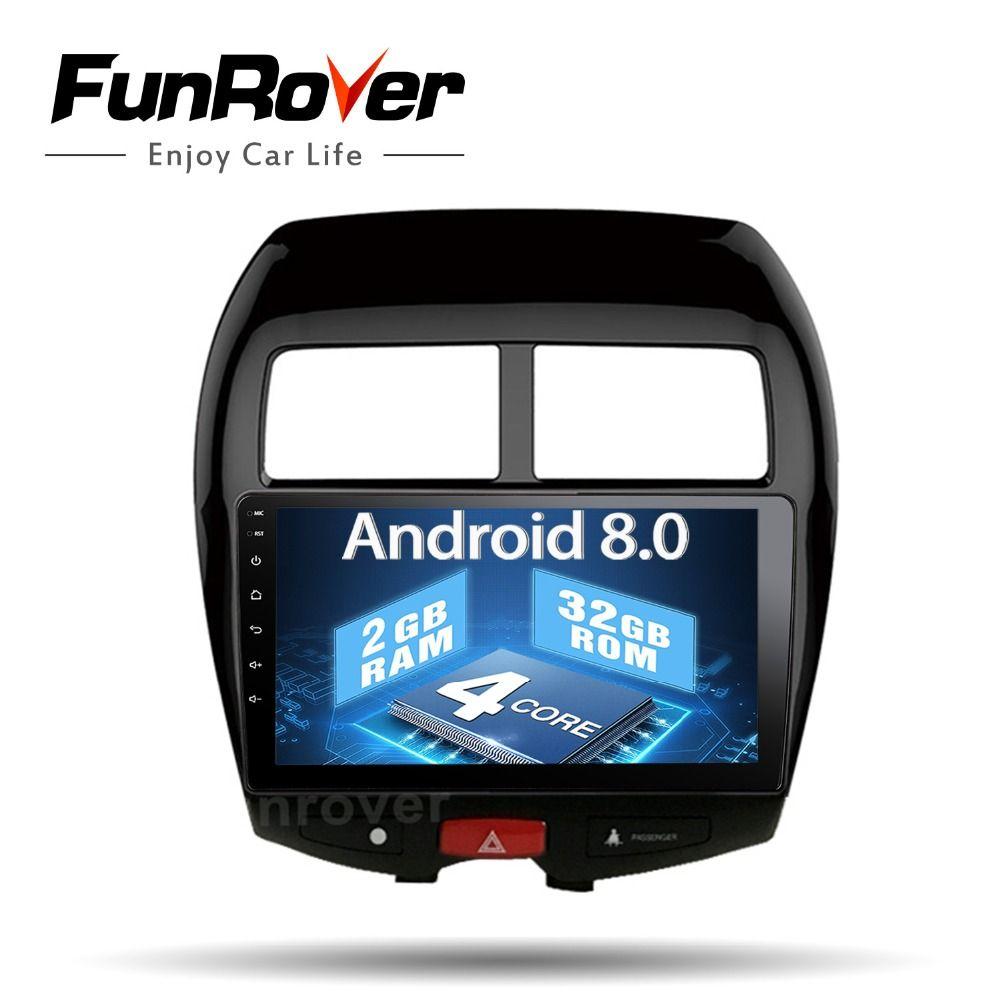 Funrover 2 din auto radio band recorder Android 8.0 für Mitsubishi ASX 2010-17 Auto Android Multimedia Stereo Steuergerät USB KEINE DVD