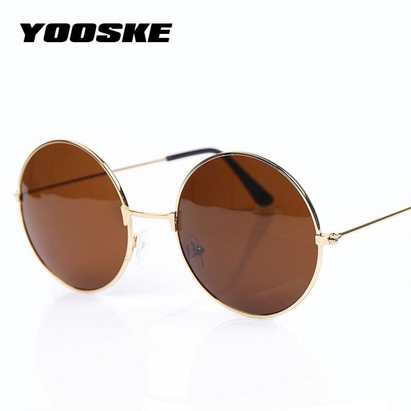 YOOSKE 2 pcs Vintage lunettes de Soleil Rondes Pour Les Femmes Hommes Marque Designer Miroir Lunettes Rétro Femme Homme Soleil Lunettes Hommes de femmes de