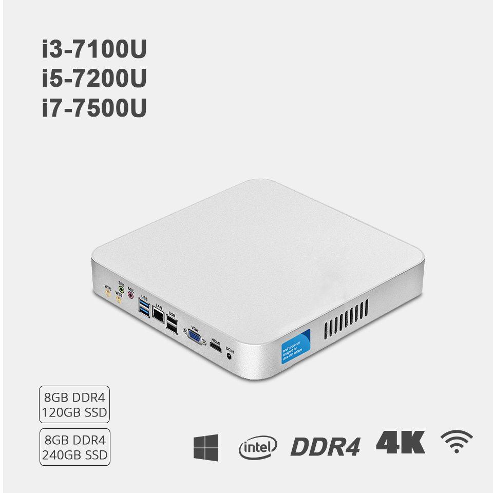 Mini PC Intel Core i7 7500U i5 7200U i3 7100U 8 gb DDR4 240 gb SSD 4 karat 300 mt wiFi HDMI VGA 6 * USB Gigabit Ethernet Windows 10 Linux