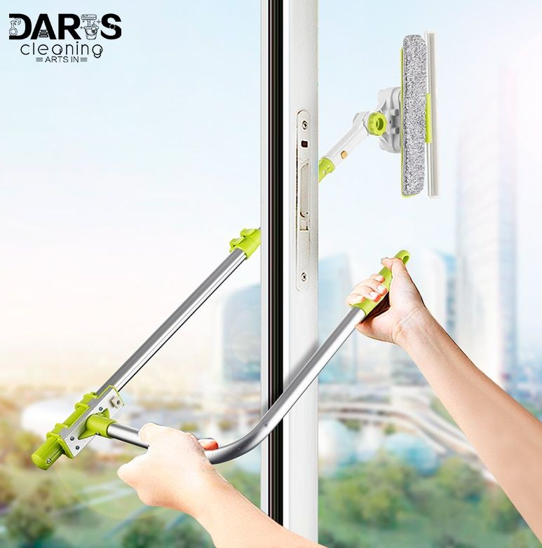 SDARISB Window Squeegee Microfiber Extendable Window Scrubber <font><b>Washer</b></font> Cleaner Tools 180 Rotatable Cleaning Brush for High Window