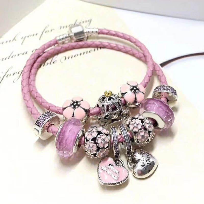 Haute Qualité Belle Cadeau Ami Bijoux Amour Thème Rose 925 Réel Argent Fermoir Charme En Cuir Corde Bracelet Pour Ami