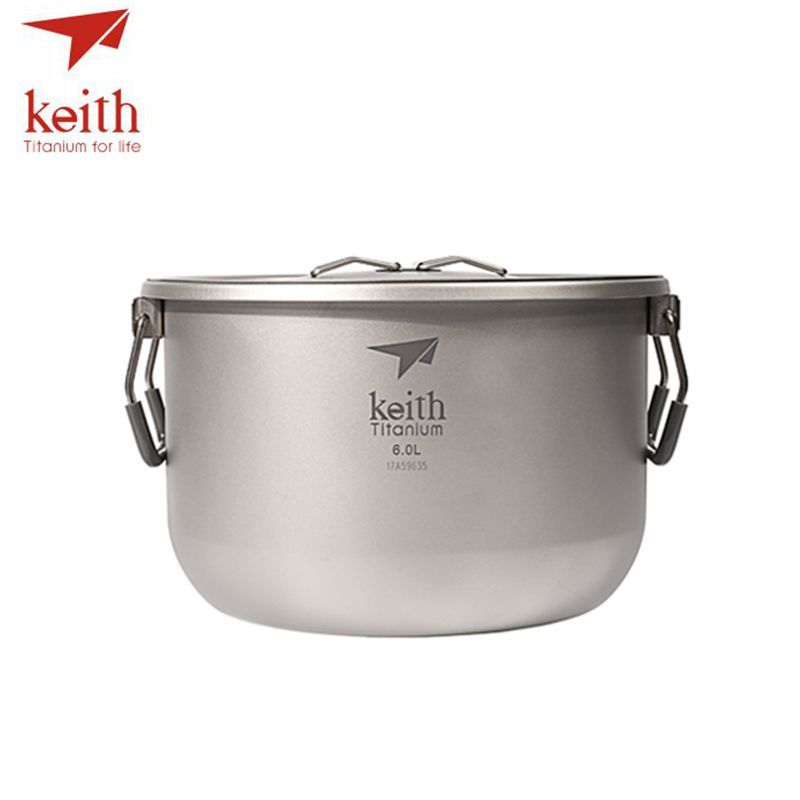 Keith Titanium 4-5 Person Large Camping Pot Folding Portable Outdoor Ultralight Hanging Pot Picnic Hiking Cookware 6L Ti8301