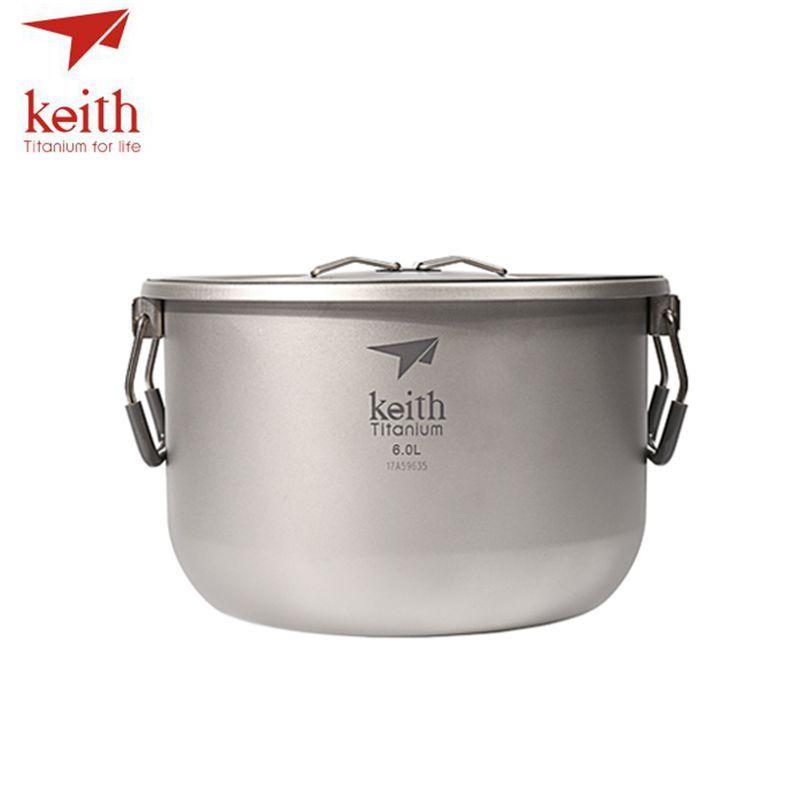Keith Titanium 4-5 Person Large Camping Pot Folding Portable Outdoor Ultralight Hanging Pot Picnic Hiking Cookware 6L Ti8301