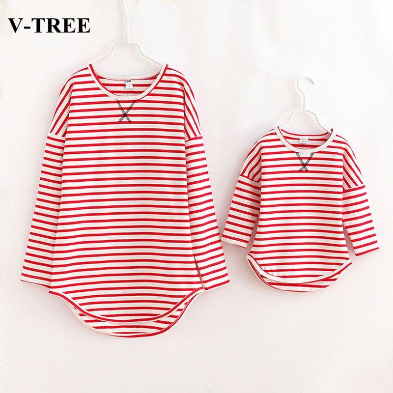 V-TREE одинаковые комплекты для семьи полосатые футболки для мамы и дочки семейная одежда «Мама и Я»