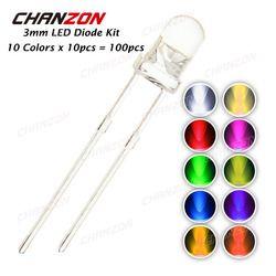 100 pcs (10 couleurs x 10 pcs) 3mm LED Diode Kit 3mm 3 V Ensemble Émettant de La Lumière Blanc Chaud Rouge Vert Bleu Jaune Orange Violet UV Rose