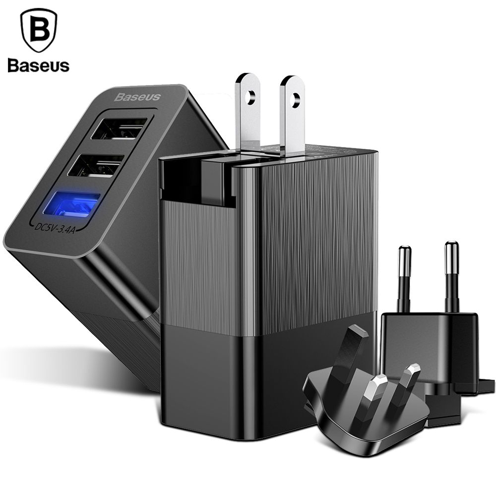 Baseus 3 Port USB Charger for iPhone X Samsung Xiaomi Charger Adapter 3-in-1 Replaceable Plug Protable Travel Wall Charger Plug