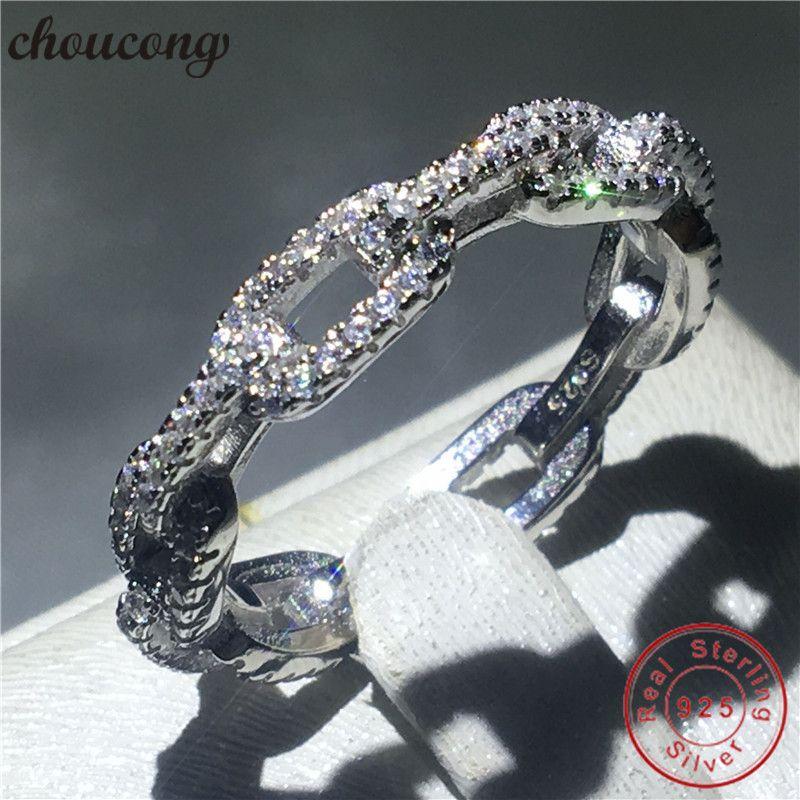 choucong Chain Shape Real Soild 925 sterling Silver ring AAAAA Zircon Engagement Wedding Band Rings For Women men Fine Bijoux