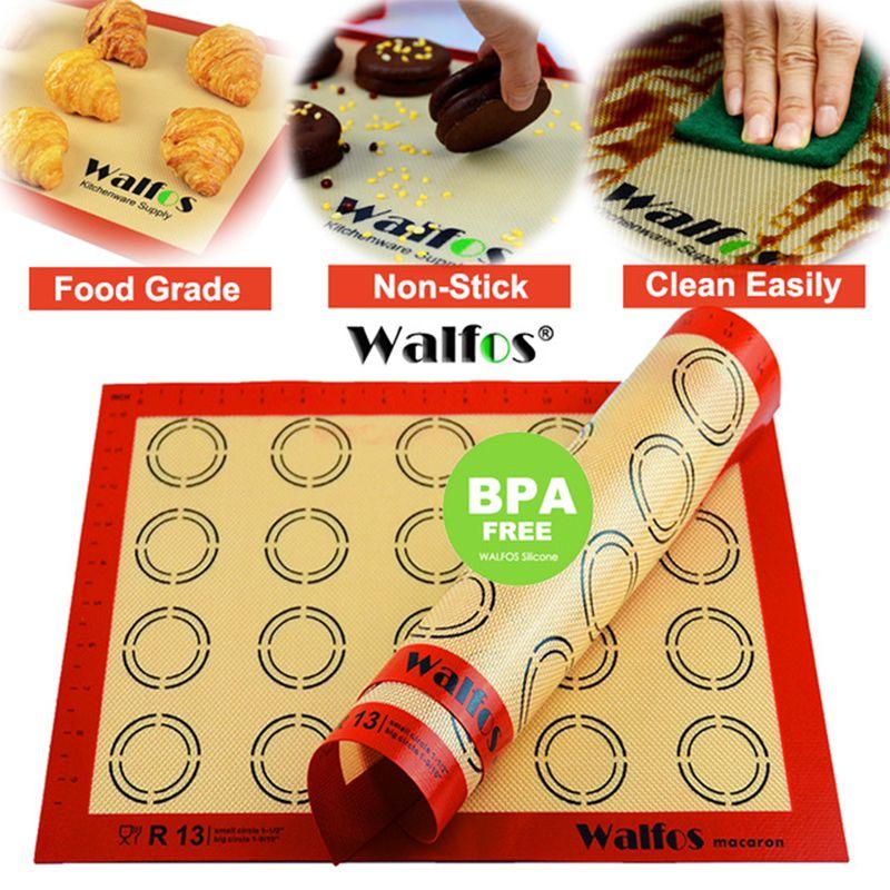 WALFOS silicone tapis de cuisson tapis de pâtisserie tapis de pâte à rouler macaron four liner cookie plaque de cuisson anti-adhésif tapis de cuisson pad