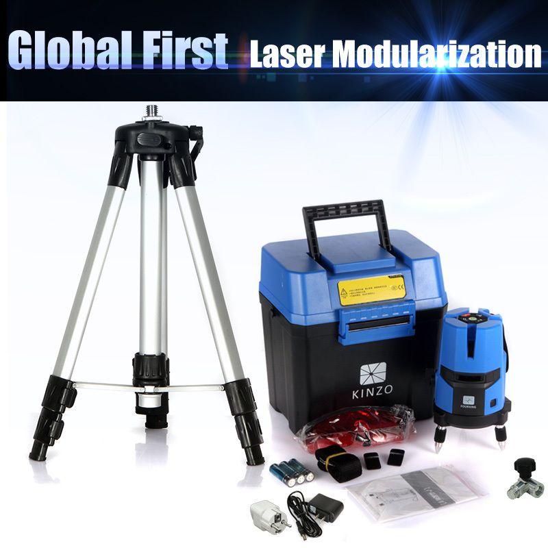 Livraison gratuite ensemble entier KINZO multifonction laser ligne croix laser rotatif niveau laser 360 auto-nivellement 5 ligne 4V1H3Point