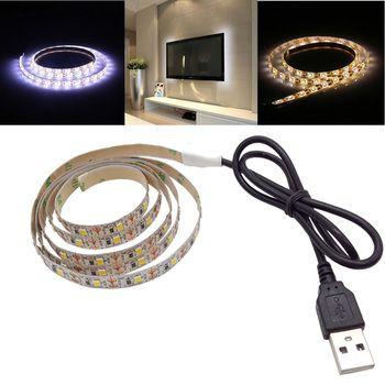 SMD 3528 2835 TV Backlight Bias Lighting Warm White USB LED Strip light rgb waterproof 50CM 1M 2M 3M 5M led tape Flat Screen LCD