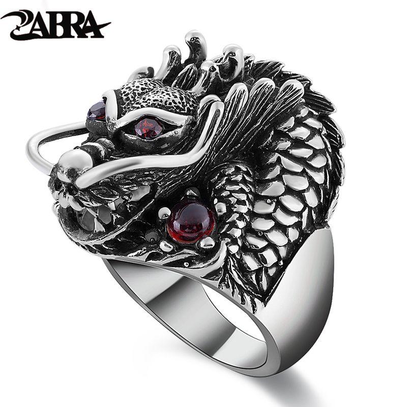 ZABRA 100% Solid 925 Sterling Silver Dragon Red Zircon Eye Domineering Men Ring Vintage Punk Retro Big Gothic Ring Men Jewelry