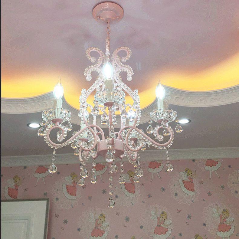 Children's Crystal Chandelier Wedding Room European Style Restaurant Lights American Pink Princess Room Girls Chandeliers