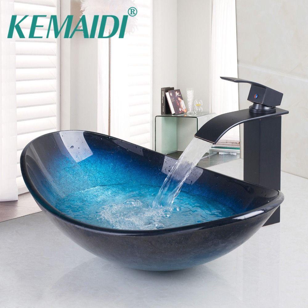 KEMAIDI Bathroom Wash Basin Tempered Glass Brass Basin Hand Painting Victory Sink Vessel Sink,Brass under Counter Basin Wash