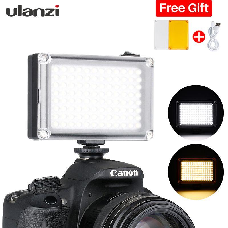 Ulanzi 96 LED sur appareil Photo Mini panneau vidéo avec batterie 2500 mAh/filtres pour caméscopes Canon Nikon Sony DSLR