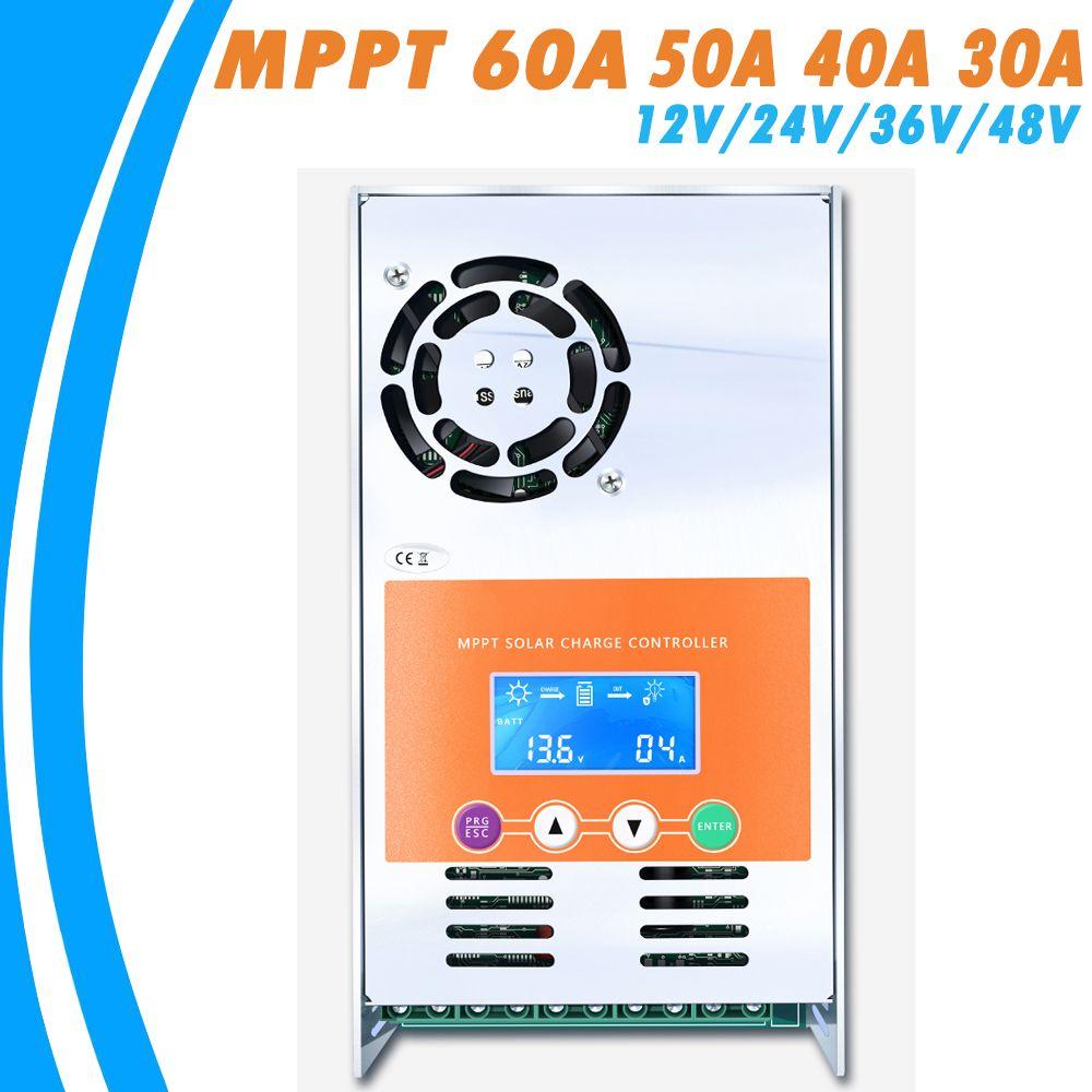MPPT 60A 50A 40A 30A Solar Charge and Discharge Controller 12V 24V 36V 48V Auto for Max 190VDC Input Vented Sealed Gel <font><b>Nicd</b></font> Li