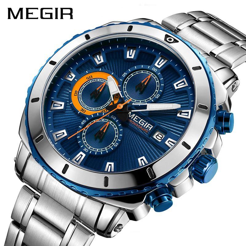 Luxury Men Business Quartz Watches MEGIR Brand Stainless Steel Band Waterproof Chronograph Sports Male Wrist Watch Clock New