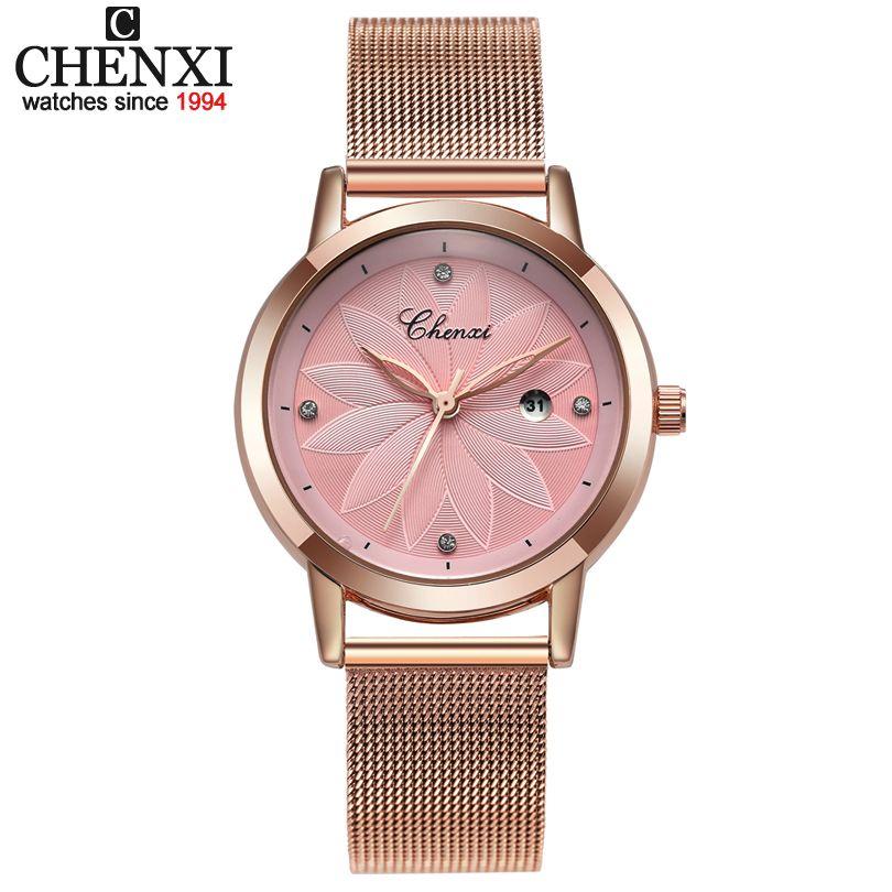 Chnexi simple oro rosa malla de acero inoxidable relojes mujeres marca de lujo reloj casual señoras reloj señora Relogio feminino