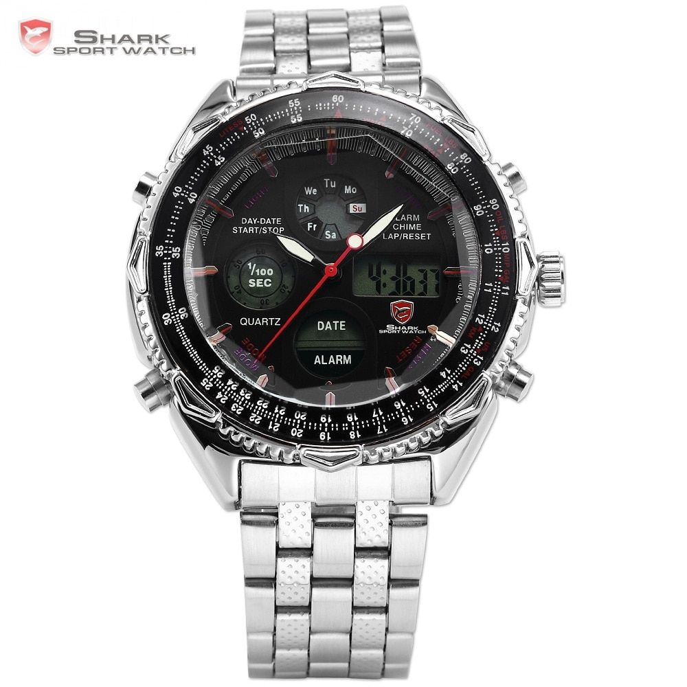 Eightgill Shark Sport Watch Dual Time Digital Analog Stainless Steel Stopwatch Mens Quartz Militray Wrist Watches Relogio /SH111