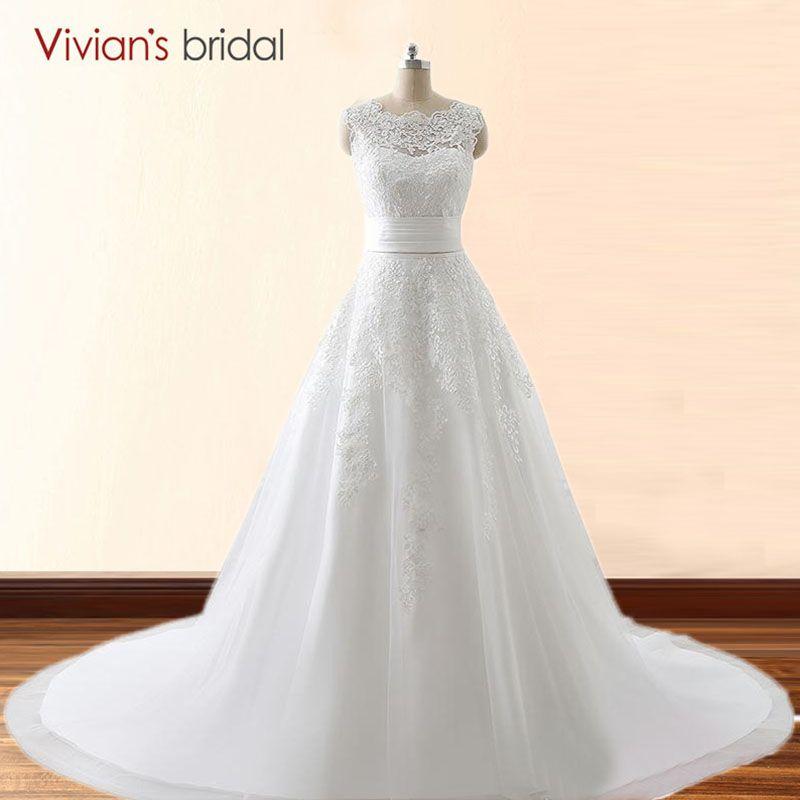 Nupcial de Vivian Dos Estilo de Encaje Una Línea Vestido de Boda Con El Tren Desmontable de Novia Vestido de Novia Vestido De Novia 26411