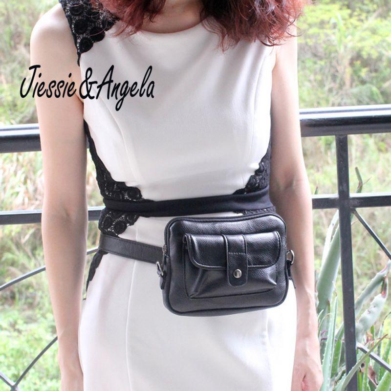 Jiessie & Angela New Casual Women PU Leather Waist Bag Lady's Handbag Waist <font><b>Pack</b></font> Travel Belt Wallets Bolosa