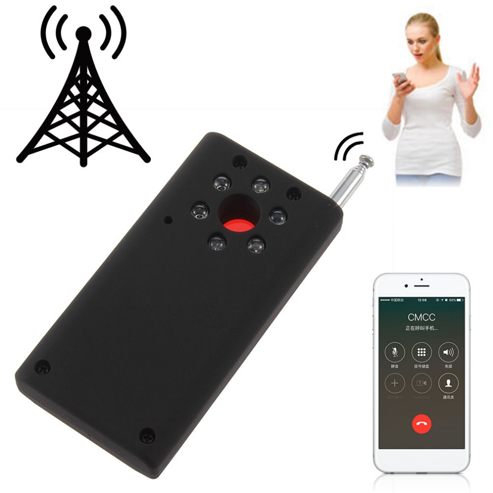 Black ABS Full Range Wireless Cell Phone Signal Detector Anti-Spy Finder CC308 US Plug WiFi RF GSM Laser <font><b>Device</b></font> 93*48*17mm