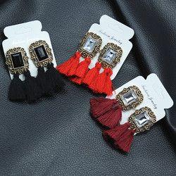 Déclaration Étoiles Gland Longue Boucle D'oreille Pour Les Femmes Bijoux 2017 Nouveaux Bijoux Classique Rouge Gris Noir Couleurs Or-couleur Bijoux