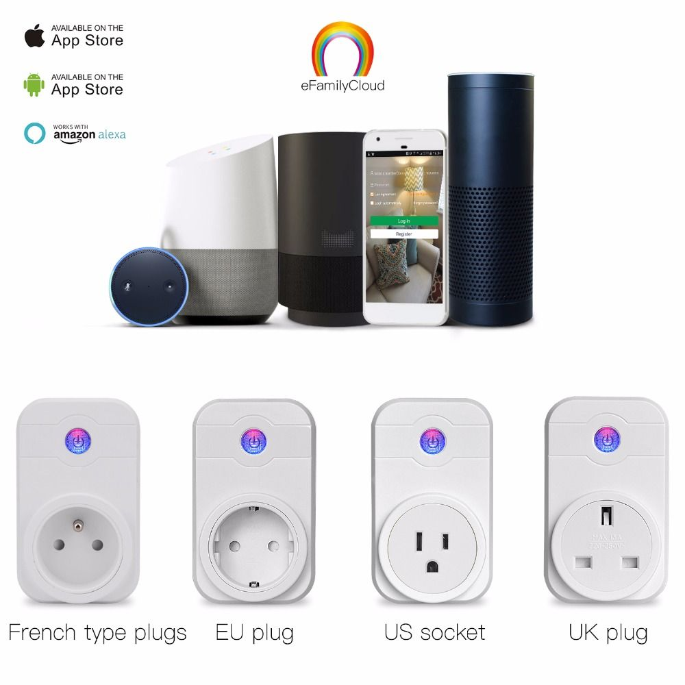Wifi Smart Plug Home <font><b>Automation</b></font> Phone App Timing Switch Remote Control 100-240V Wifi Socket Working with Amazon Alexa and Google