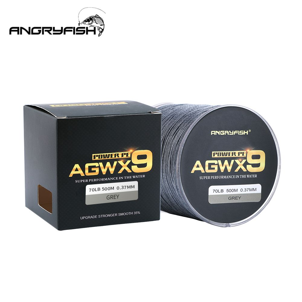 Angryfish 9 Strands Weaves Braided 500M/547YD Fishing Line Super Strong PE Line 15LB-70LB Braided Fishing Thread