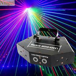 Niugul المسح الضوئي ليزر مسرح ضوء RGB كامل اللون ستة العين شعاع الليزر نادي DJ ديسكو أضواء الليزر العارض DMX512 المسح الليزر الإضاءة