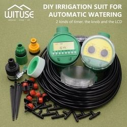 2 Choices 5m-30m DIY Micro Drip Irrigation System Plant Self Automatic Watering Timer Garden Hose Kits With Adjustable Dripper