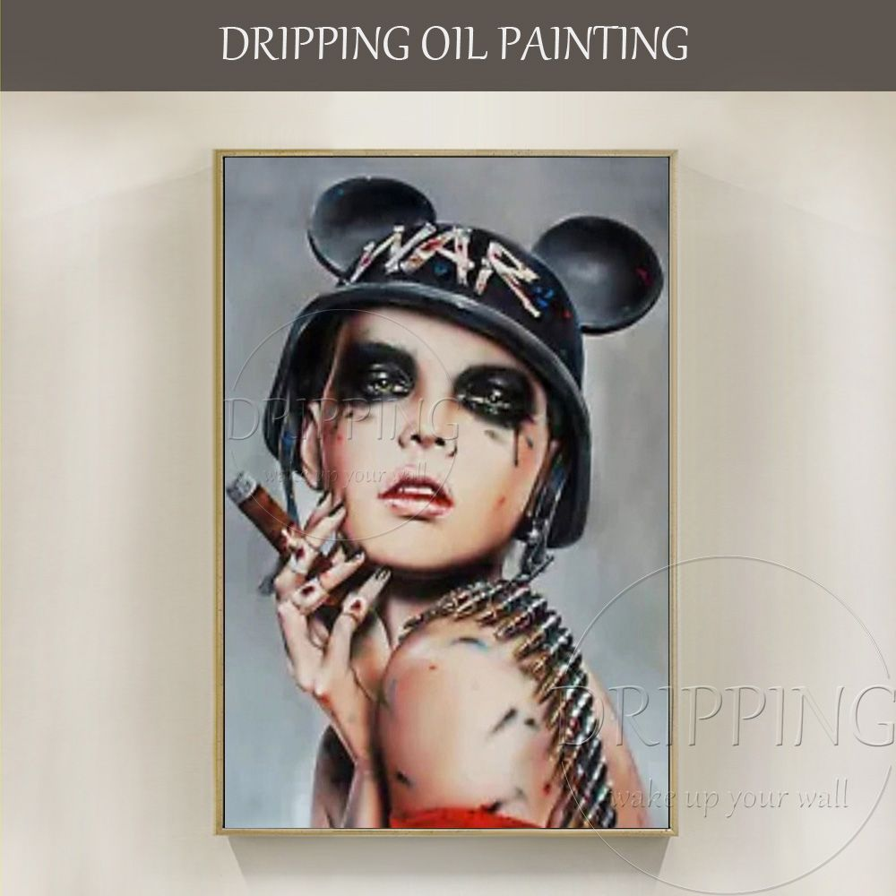 Hand-painted High Quality Modern Abstract Female Soldier Oil Painting on Canvas Lady Smoking Cigar Painting for Pub Decoration
