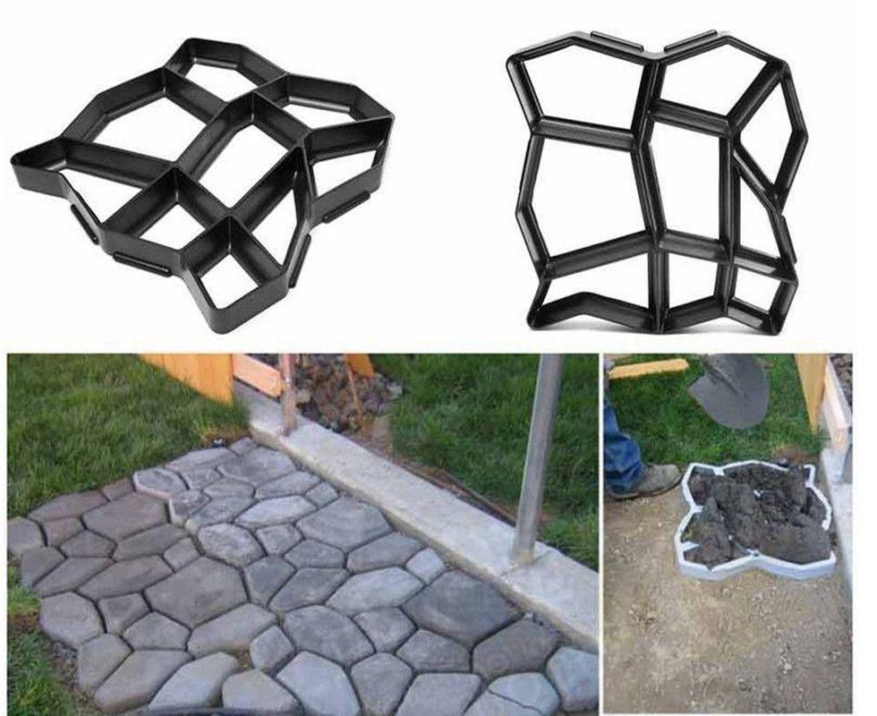 Urijk Garden Path Maker Molds Walk Pavement Concrete Mould DIY Manually Paving Cement Brick Stone Road Concrete Pathmate Moulds
