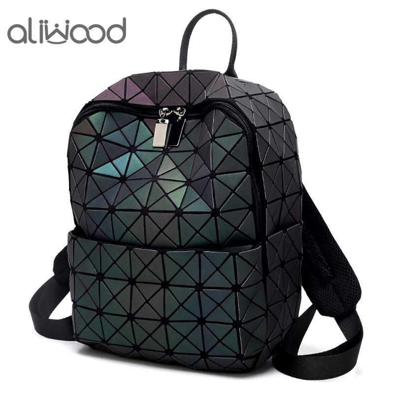 Aliwood Diamond Sequin Women's Leather Backpack Hologram Geometric Backpacks for Adolescent Girls 2018 Female Luminous Backpack