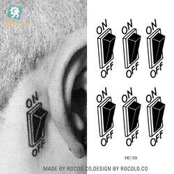 Tahan Air Sementara Tato Stiker Pada Tubuh 3D Power Switch Tatto Stiker Flash Tato Palsu Tato untuk Pria Gadis Wanita
