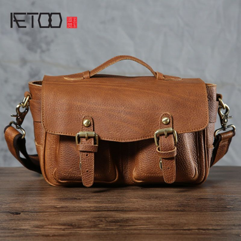 AETOO Retro Nostalgic Small Shoulder Bag Men SLR Camera Bag Leather Messenger Bag Handbag Handmade