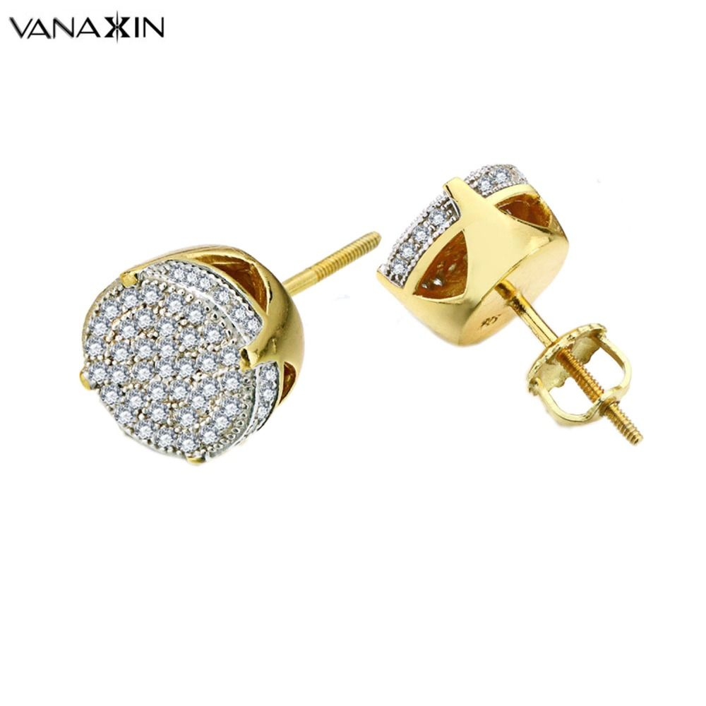 VANAXIN 925 Sterling Silver Earrings Unicorn Iced Out Micro Pave CZ Crystal Stud Earring for Women Trendy Jewelry Hip Hop Men