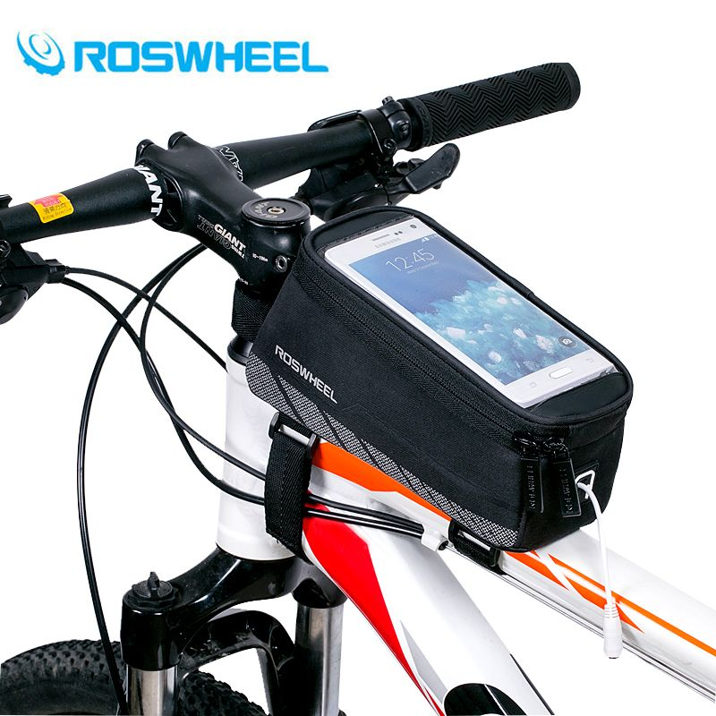 ROSWHEEL Cycling Bicycle Bike <font><b>Cell</b></font> Mobile Phone Front Frame Tube Storage Bag Pannier Case Holder for 5.7 Screen Phones