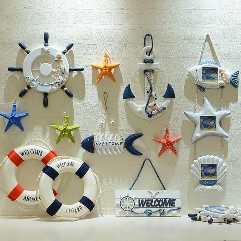 Pa. une Méditerranée Décoration Artisanat Coquilles Étoiles de Mer Gouvernail Poissons Net Créative Salon Chambre Mûr Art Décor
