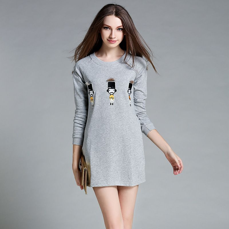 2017 Autumn New Loose Long-sleeved Short Paragraph <font><b>Dress</b></font> Small Pattern Plush Decorative Round Neck <font><b>Dress</b></font> AXD005