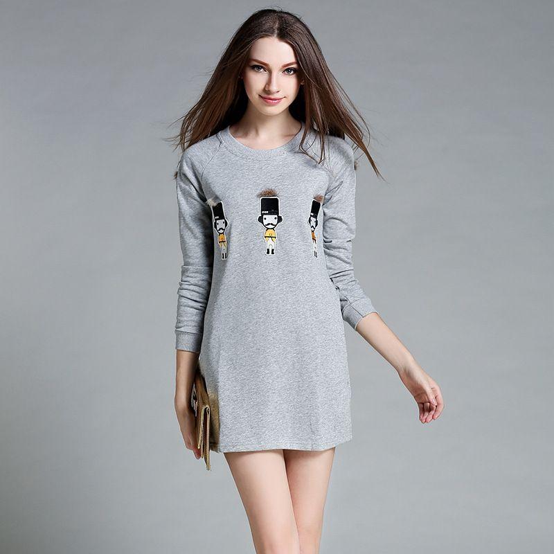 2017 <font><b>Autumn</b></font> New Loose Long-sleeved Short Paragraph Dress Small Pattern Plush Decorative Round Neck Dress AXD005