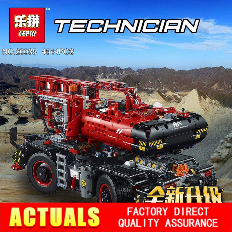 Lepin 20085 Technic Series Rough Terrain Crane Compatible Legoing 42082 Building Blocks Bricks Educational Toys With Battery Box