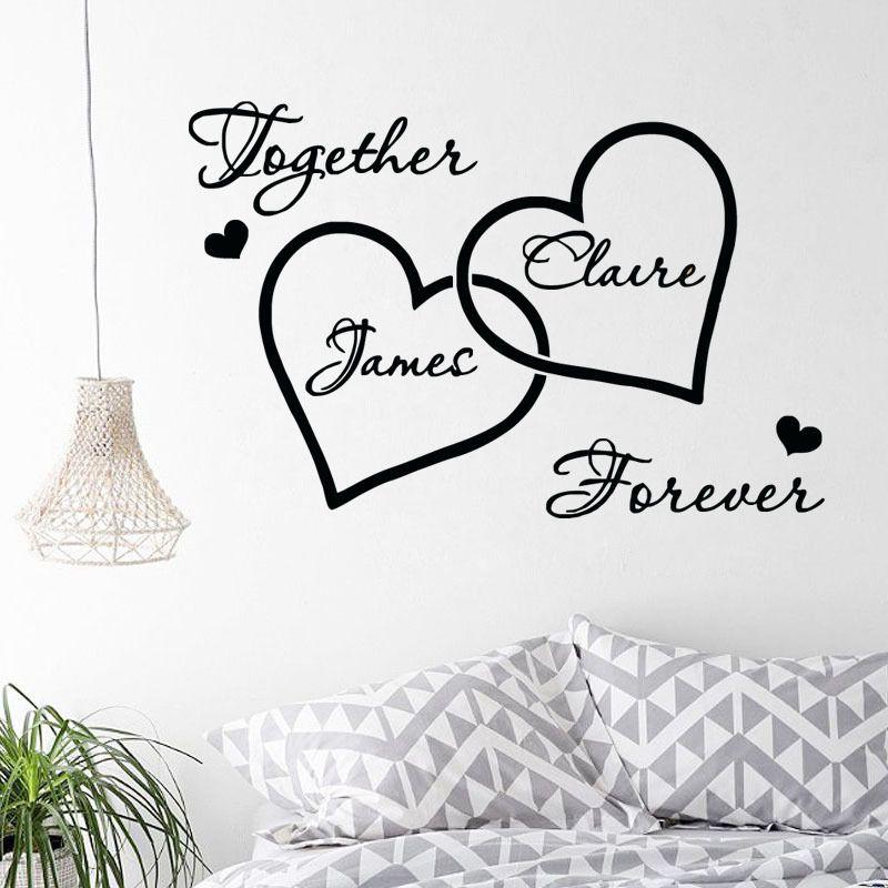 ZN G264 amour coeur personnalisé Couple nom mur autocollant romantique chambre décorative décalque chambre stickers muraux arts décoratifs