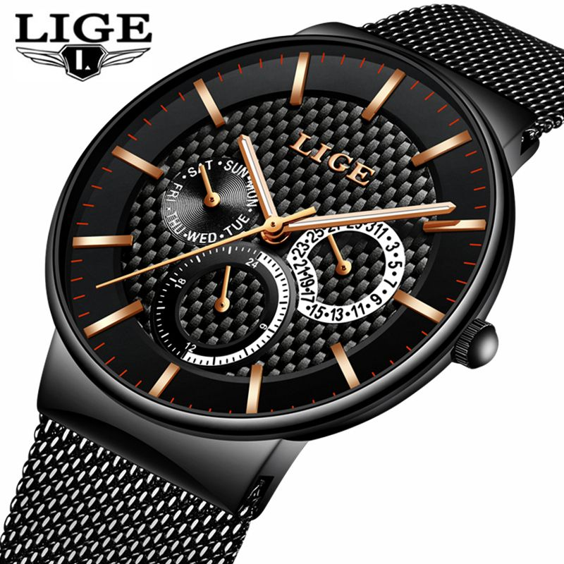 LIGE Mens Watches Top Brand Luxury Quartz Business Watch Men Steel Strap Casual Date Waterproof Sports Watches Relogio Masculino