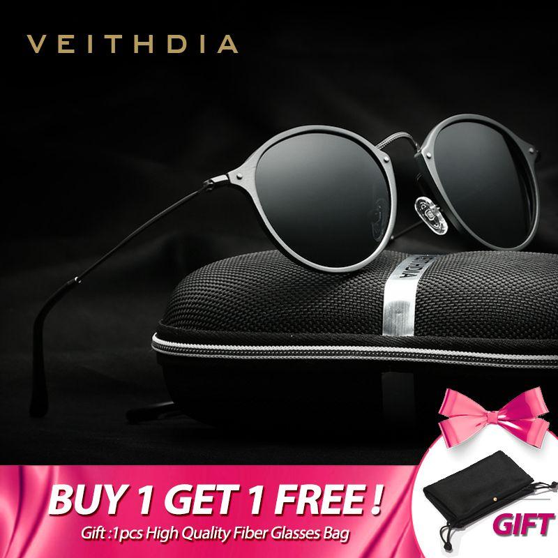 VEITHDIA marque mode unisexe lunettes de soleil revêtement polarisé miroir conduite lunettes de soleil ronde lunettes pour homme pour hommes/femmes 6358