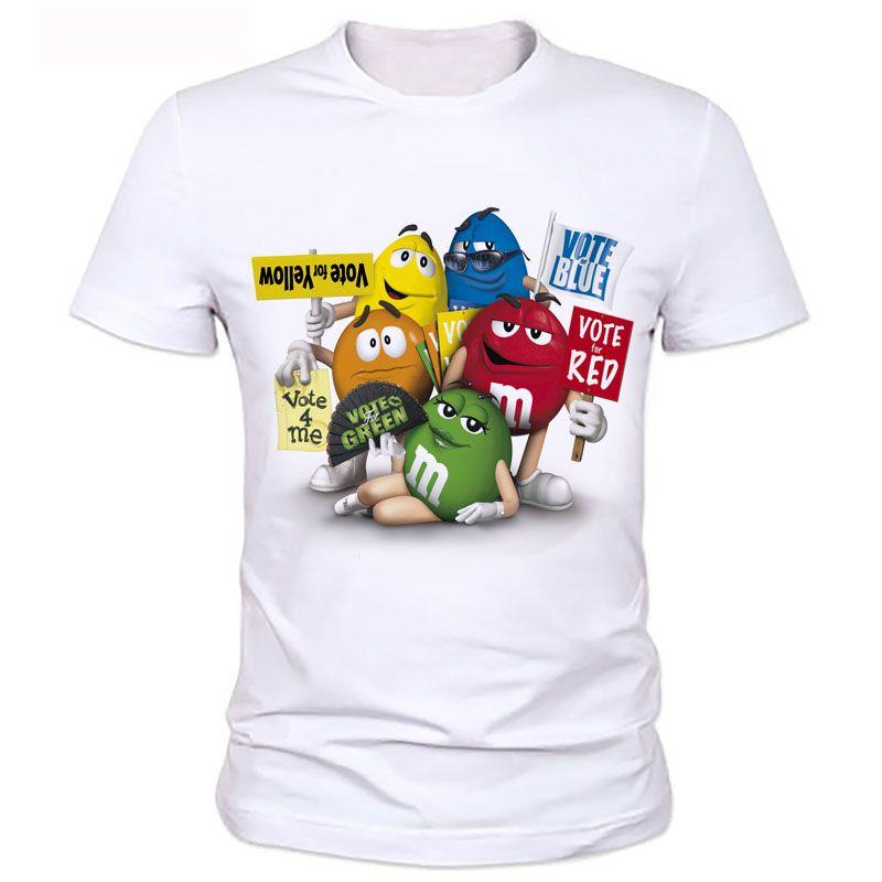 Cet homme est imprimé t-shirts Nouveau Dessin Animé de chocolat D'arachide De m & m's Emoji Imprimer Mignon Unisexe Hommes t-shirt décontracté Hip hop 88 #