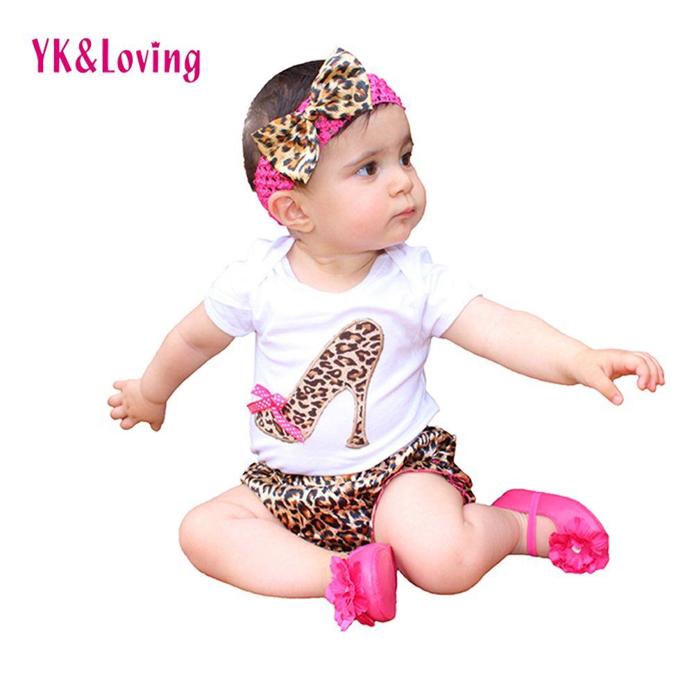 Ensemble barboteuse bébé léopard nouveau-né Style été coton manches courtes body + pantalon + bandeau volants bébé fille ensemble de vêtements