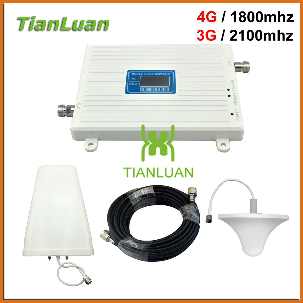 TianLuan W-CDMA 3G 2100mhz DCS 4G LTE 1800mhz Cell Phone Signal Booster 2G 3G 4G Repeater with Ceiling / Log Periodic Antenna