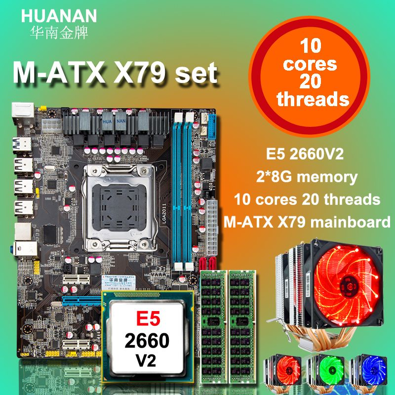 Cheap motherboard bundle HUANAN ZHI X79 motherboard with Intel Xeon E5 2660 V2 with 6 heatpipes cooler RAM 16G DDR3 1600 REG ECC